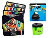 Lot de 72 crayons de couleur Prismacolor Premier - Couleurs assorties (3599TN) - Mine souple + Taille crayon de couleurs Prismacolor Scholar (1774266) + Gomme sans latex Prismacolor Scholar (1774265)