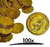 100x Goldmünzen | Hochwertige Spielgeld Münzen aus Kunststoff | Goldtaler Goldene Spielmünzen Piratengold Schatzsuche Piraten Mitgebsel | für Piratenparty Kindergeburtstag als Deko oder Scherzartikel