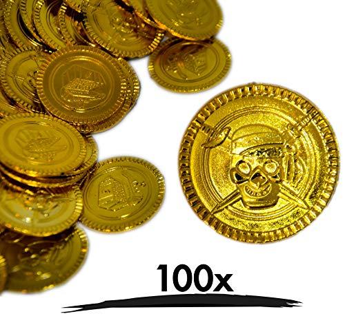 100x Goldmünzen   Hochwertige Spielgeld Münzen aus Kunststoff   Goldtaler Goldene Spielmünzen Piratengold Schatzsuche Piraten Mitgebsel   für Piratenparty Kindergeburtstag als Deko oder Scherzartikel
