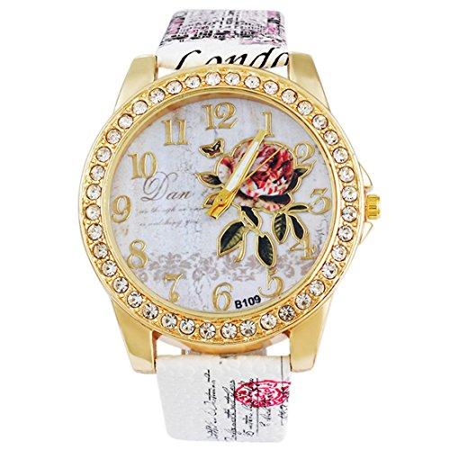 83038176a45456 MJARTORIA Damen Strass Blume Armbanduhr Elegant Lederarmband Damenuhr  Analog Quarz Uhr Boho Weiß