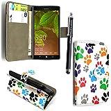Microsoft Lumia 535 Funda, Kamal Star® Minion Wallet Flip Billetera Carcasa Cover Case Funda de Cuero Para Microsoft Lumia 535 + Stylus (Multi Dog Cat Paw Print Book)