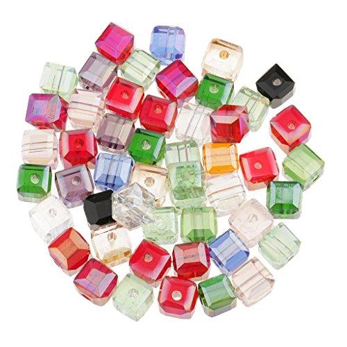 MagiDeal 50pcs 6mm Glas Kristall quadrat Würfel Korne perlen für DIY Schmuck Herstellung - Farbe mischen (Würfel Schmuck)