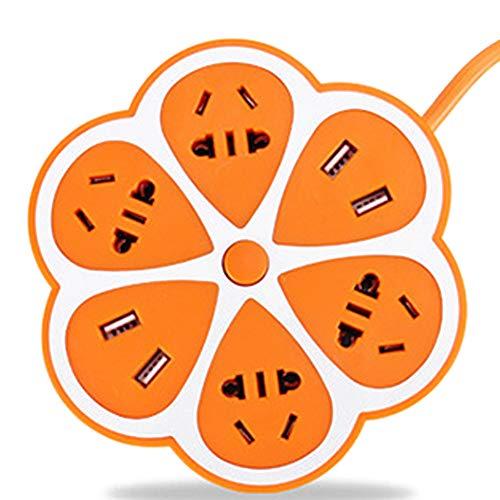 Hemore Multifunktionale Steckdosenleiste in Zitronenform, Überspannungsschutz, mit 4 USB-Anschlüssen, 4 internationalen Steckern und 1,8 m Verlängerungskabel für Zuhause, Büro, Orange - Outlet Laptop-Überspannungsschutz
