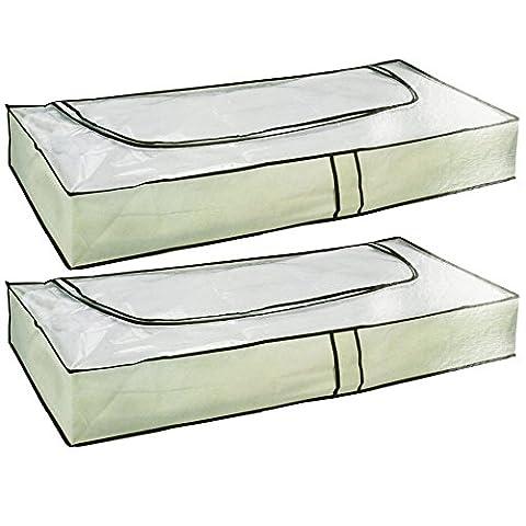 Com-Four Boîte de rangement sous lit avec fermeture éclair et poignées 103x 45X16cm 02 Stück - beige