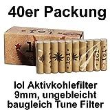 lol - Filtri ai carboni attivi Tip Tube con estremità in ceramica, lunghezza 9 mm, confezione da 40 pz