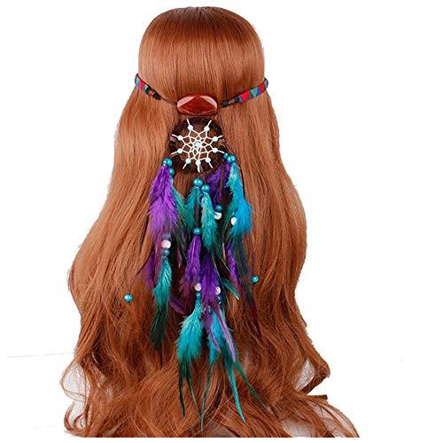 Lisansang Damen Blume Stirnband Feder Hippie Headwear Festival Stirnband Tribal für Frauen Mädchen Damen Krone Blume, Damen Hochzeit Kranz, Blume Kro (Farbe : Style 1)