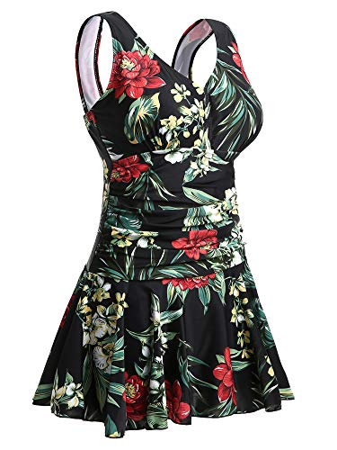 Summer Mae Damen Badekleid Plus Size Geblümt Figurformender Einteiler Badeanzug Swimsuit Schwarz und Rot mit Kirsche (EU Size 48-50)