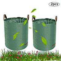 BETOY Garden Waste Bags - Premium Set of 2 Reusable Bags with Handles,Garden Gardening Bag Self-Erecting(Size : 60L) Heavy Duty & Waterproof Rubbish Sacks Best for Grass, Leaves Trees Plants Flowers