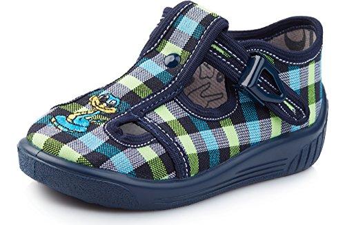 Ladeheid Zapatillas para Niños LARW002(Verde Azul Marino/Cuadros, 24)