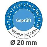 Avery Zweckform 6951 Prüfplaketten (120 Prüfaufkleber aus Vinyl, Geprüft, 2019-2024, Ø 20 mm, im praktischen Block) blau