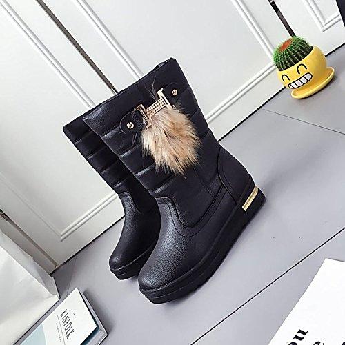 HSXZ Scarpe donna pu Winter Snow Boots stivali tacco piatto rotondo Mid-Calf Toe stivali per Casual Bianco Nero White