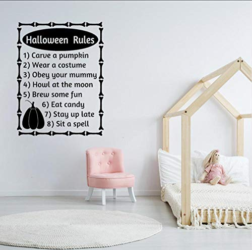 Fagreters 56 Cm * 73,6 Cm Halloween ordnet Wort-Buchstaben-Herbst-Halloween-Dekorations-Kunst-PVC-Wand-Aufkleber an Schlafzimmer-Mädchen-Jungen-Wohnzimmer (Halloween Namen Und Wörter)