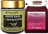 Savon Noir Gommage 250g Eucalyptus et Huile d'Olive 100% Naturel + Gant de gommage kessa de qualité - Hammam Marocain: Exfoliant - Purifiant -MAROC GLAM