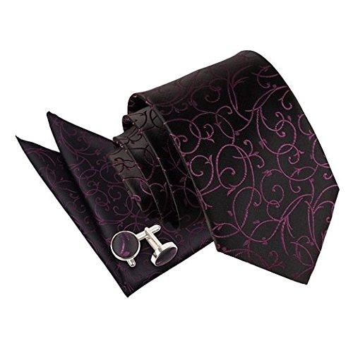 DQT Krawatte Mit Einstecktuch Und Manschettenknöpfe Swirl Set - Schwarz Und Lila