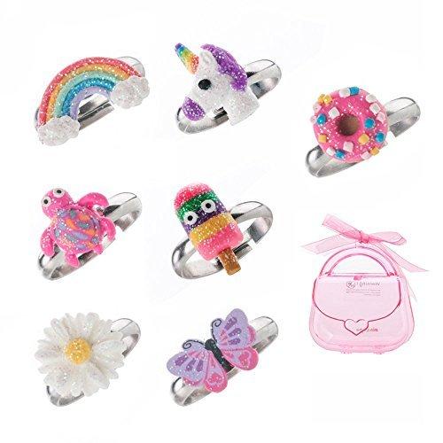 Ring-Set für kleine Mädchen, niedlicher bunter Einhorn, Schmetterling, aus Polymerton, verstellbar, ()