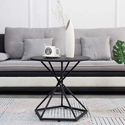Xiao Nordic Schmiedeeisen Runder Couchtisch, Wohnzimmer Balkon Kreative Kleine Runde Teetisch Tisch Gold/Schwarz (Color : Black, Size : 50 * 50 * 50cm)