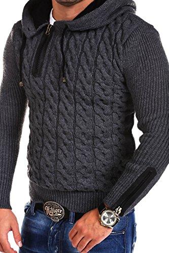 Tazzio Strick-Hoodie mit Zipper Pullover Strickjacke 15-453 Dunkelgrau
