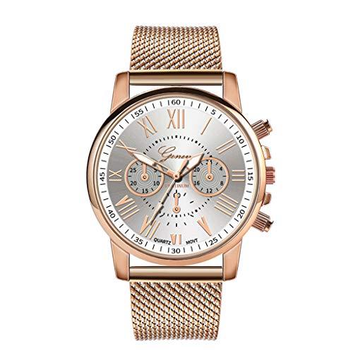 Damen Armbanduhr,Alaso Mode Luxus Quarz Uhr Sport Military Edelstahl Zifferblatt Lederarmband Armbanduhr