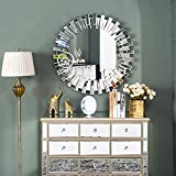 Venetian Design Flip Flop Wall Mirror Diameter - 30 Inches | Get 2 Rustic Golden Photo Frame + Jewellery Box + Table Clock Worth Rs 7500/- Absolutely Free With This Wall Mirror