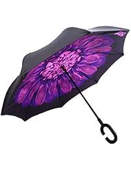 dolirox® Creative Free Hand Doppel Schicht seitenverkehrt Umbrella Windproof und Self Permanent Inside Out Umbrella Best for Reisen und Verwendung der Auto
