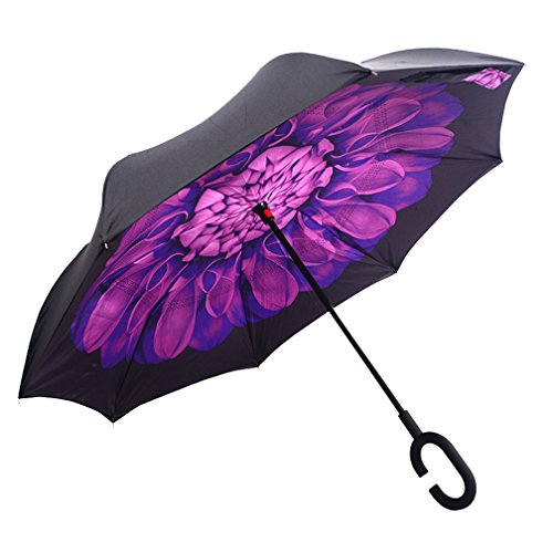 Preisvergleich Produktbild dolirox® Winddicht Rückseite zusammenklappbar Double Layer seitenverkehrt Regenschirm und selbst stehend Inside Out Regen Schutz Regenschirm mit C-förmigem Hände frei Griff, Best Verwendung für Reisen und Auto Black Purple