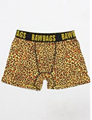 Mens Bawbags Leopard Print Boxers Yellow