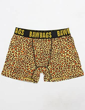 "Bawbags Mens Boxer Shorts, Leopard Yellow (S - 28 to 30"")"