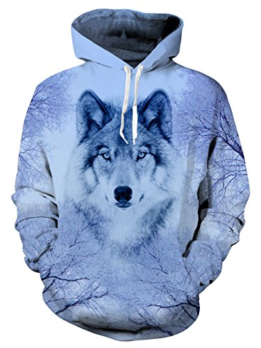 uideazone Hipster Style Graphic Hoodie Langarm Schnee Berg Wolf Pullover Pullover (Graphic T-shirt Basketball)