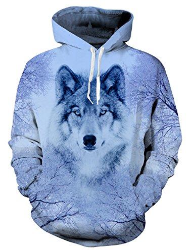 Fanient Dame Hoodies Hipster Grauer Wolf Lustig 3D-Muster Splash Tinte Unisex Langarm - Muster Für Eine Wolf Kostüm