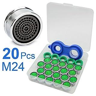 20pcs Strahlregler M24, Akunsz Luftsprudler für Wasserhahn, Mischdüse mit ABS-Filter, 1x Mischdüsenschlüssel + 1x Aufbewahrungsbox dabei