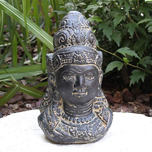 Oriental Galerie Shiva Buddha Kopf Skulptur Stein Lavasand Indonesien Bali Gott Schiwa Hinduismus Sri Dewi Deko 27cm