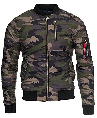 KAYHAN Herren Bomberjacke übergangs Jacke STAR LIKE, super Modern mehrere Farben zur Auswahl Militär Grün
