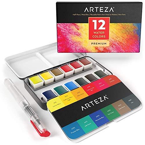 ARTEZA Pittura Per Acquarelli Set da 12 Mezzi Cofanetti Premium con Brush Pen Acquarellabile, Colori Assortiti, Ideali sia per chi Impara che per l'Esperto di Acquerello