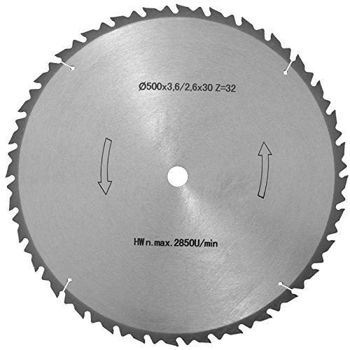 HM Kreissägeblatt 500mm 30 mm Bohrung mit 32 Zähnen Grobschnittsägeblatt für Wippsägen Brennholz Sägeblatt Hartmetall bestückt