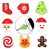 Kalolary 8 Pcs Christmas Cable Bite, New Animal Phone Accessory Protects All Cable Cord Bite Cute Adapter Cable Cover Protector Great for Gift