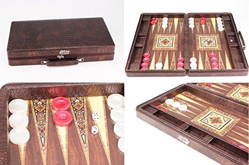 Deluxe Backgammon Set Tavla - hochwertige Verarbeitung & Materialien - in edlem Koffer mit beidseitigem Reißverschluss (Kroko-Leder-Optik) - Gesellschaftsspiel Strategiespiel - für 2 Spieler