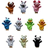 Animal Hand Puppets Cute Funny Plush Cartoon Toy Dolls Props For Kids Set Of 10Pcs