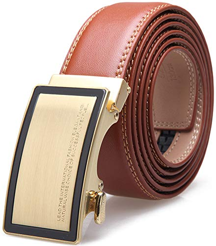 Wetoper Leather belt for men Fit, simple and classic, with automatic buckle.35mm Width (No: 3, 130cm / 34-44 'adjustable waist)