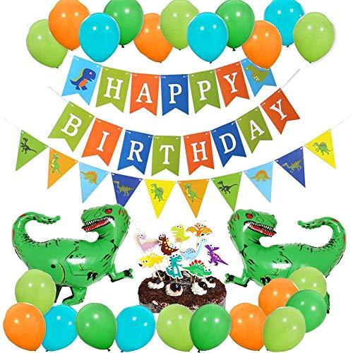68-teiliges Dinosaurier-Geburtstags-Dekorationsset für Jungen, Mädchen, Dino, Dschungel, Jurassic Geburtstag Party Supplies (Birthday-casino-banner Happy)