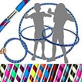 HULA HOOPS pour ENFANTS - (Ultra-Grip/Glitter) GLITTER KIDS TRAVEL Hula Hoops - De Hula Hoop pliable pour enfants. Idéal pour l'exercice! (Diam: 85cm, Leste: 400g) (Bleu / Violet Glitter, 85cm)