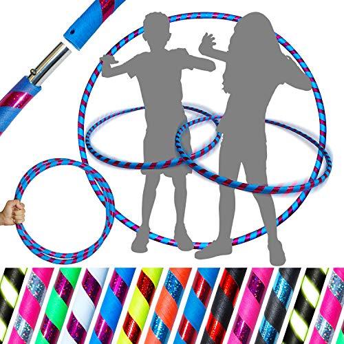 Unbekannt Pro Kids Hula Hoop Reifen für Kleine Erwachsene und Kinder (10 Farben Ultra-Grip/Glitter Deco) TRAVEL Hula Hoop ideal für Dance, Fitness, Zirkus, Festivals & Fun! (Blau / Lila Glitter)