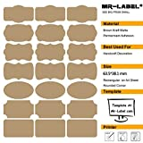 Mr-Label® 7 Tipos de Forma de lujo de Brown Kraft etiquetas engomadas adhesivas -Self para la decoración de regalos | arte de la mano | Finishing Touch | Botellas (Tamaño: 63.5 * 36.1mm, 10 hojas / Total 210pcs etiquetas)