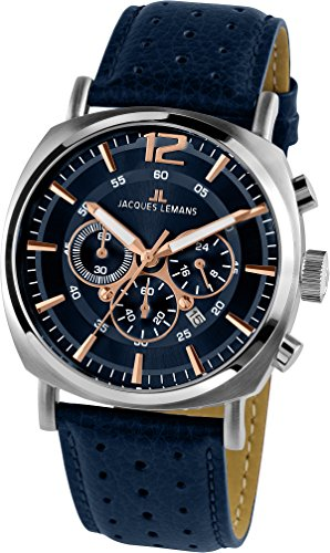 Jacques Lemans Herren Analog Quarz Uhr mit Leder Armband 1-1645I