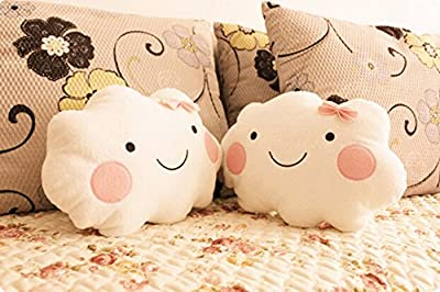 Kawaii Smiley Face Cloud Cushion with Bow - inexpensive UK light store.