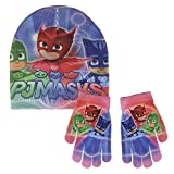 PJ Masks Super Pigiamini 2200-2551 Set 2 Pezzi, Coordinati Invernali, Cappello, Guanti, Glitter, BambinI, Multicolore, Gattoboy, Gufetta, Geco
