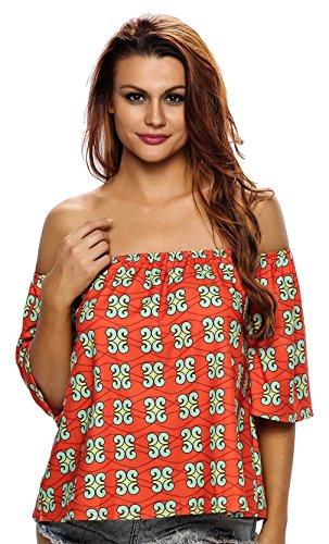 la-vogue-femme-tops-crop-epaule-imprime-shirts-africaine-plage-rouge-size2