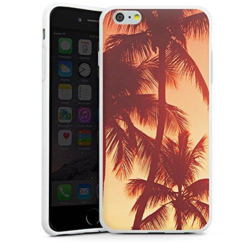 Apple iPhone X Silikon Hülle Case Schutzhülle Palmen Abendrot Urlaub Silikon Case weiß