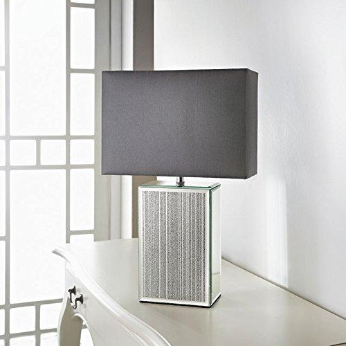 square glitter mirror table lamp silver
