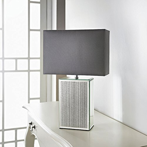 Square Glitter Mirror Table Lamp   Silver