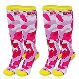 JTENG 2 Paar Kinder skisocken, Winter Ski Snowboard Skifahren Socken Hoche Leistungs Thermisch Warm, ideal für aktive Kinder (Rosa-2 Paar, M(31-34))